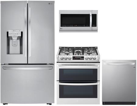 4 Piece Kitchen Appliances Package with LRFXC2406S 36″ French Door Refrigerator  LTG4715ST 30″ Slide-in Gas Range  LMHM2237ST 30″ Over the Range
