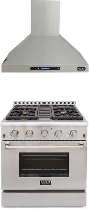 """Professional Series 2 Piece Kitchen Appliances Package with KRG3080ULP 30"""" Liquid Propane Gas Range and KRH3010A 30"""" Pro Style Wall Mount Ducted Hood"""