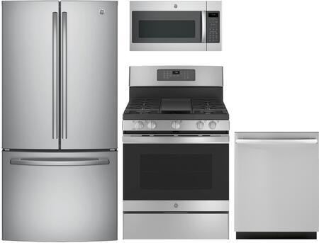 "4-Piece Kitchen Appliance Package with GNE25JSKSS 33"" French Door Refrigerator JGB735SPSS 30"" Gas Freestanding Range JVM7195SKSS 30"" Over the Range"