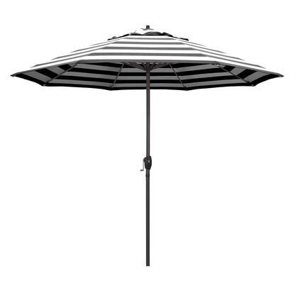 Casa Collection ATA908117-58030 9′ Patio Umbrella With Bronze Aluminum Pole Aluminum Ribs Auto Tilt Crank Lift With Sunbrella 2A Cabana Classic