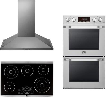 3 Piece Kitchen Appliances Package with LSWD307ST 30″ Electric Double Wall Convection Oven  LSCE305ST 30″ Electric Cooktop and HCED3015S 30″ Wall