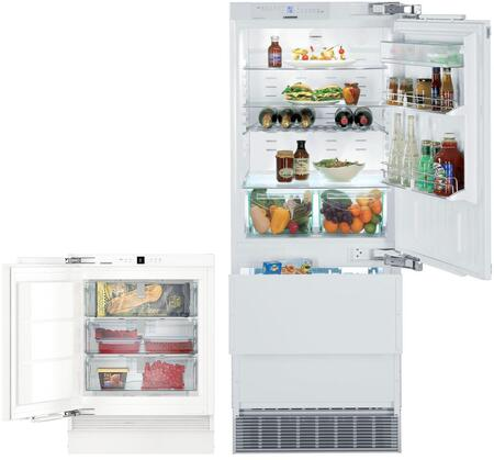 """2 Piece Kitchen Appliances Package with HC1550 30"""" Bottom Freezer Refrigerator and UF501 24"""" Counter Depth Freezer in Panel"""