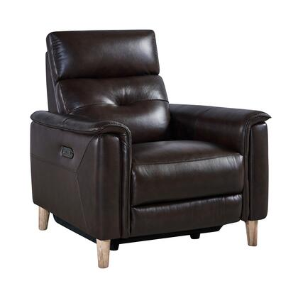LCGA1BR Gala Contemporary Chair in Brown Wood Finish and Dark Brown Genuine