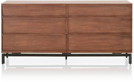 District Collection 4646.WAL 71″ Andes Dresser with 6 Drawers  Contemporary Style  Matte Black Shaped Metal Legs  Wood Veneer and Solid Wood