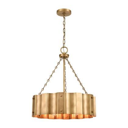 89067/4 Clausten 4-Light Chandelier in Natural Brass with Natural Brass Metal