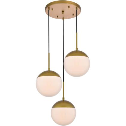 LD6072BR Eclipse 3 Light 18 inch Brass Pendant Ceiling Light With Frosted White