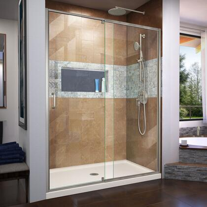 DL-6222C-22-04 Flex 30″ D x 60″ W x 74 3/4″ H Semi-Frameless Shower Door in Brushed Nickel with Center Drain Biscuit Base