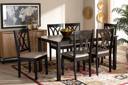 Wholesale Interiors Reneau RH316CSANDDARKBROWN7PCDININGSET Dining Room Set Brown, 9403 10527 10519 6