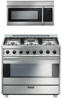 Smeg 2-Piece Kitchen Appliances Package With C36GGXU 36 Classic Series Gas Freestanding Range and OTR316XU 30 Over the Range Microwave in Stainless