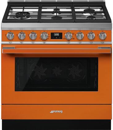 Smeg Portofino CPF36UGGOR Freestanding Gas Range Orange, Main Image