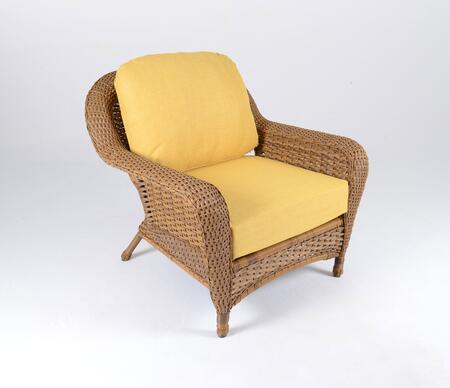 Sea Pines Collection LEX-C1-M-RAVEL Club Chair in Mojave Wicker and Rave Lemon Fabric