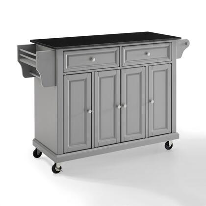 Full Size Kitchen Collection KF30004EGY Full Size Granite Top Kitchen Cart in Gray