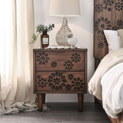 Amarantha Collection CM7362N Nightstand With Burned Wood Design And Round Tapered Feet  In Dark
