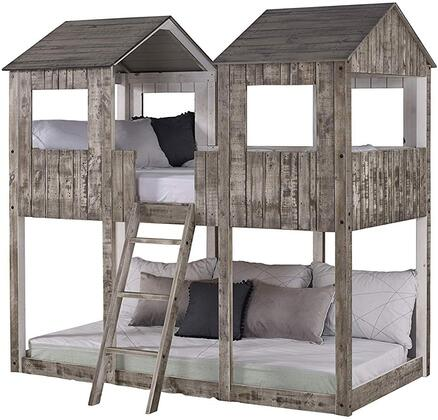 3225-TTRDWA 82″ Twin Over Twin Tower Bunkbed with Built in Ladder  Fun Building Design  Panel Headboard and Footboard in Rustic Dirty