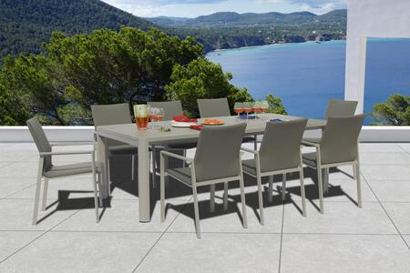 Fine Line Ritz Collection GR03409SGB2049G 9 Piece Outdoor Dining Set with Extendable Savoy Table  Grey Frosted Glass Top  All-Weather Mesh Fabric
