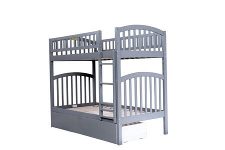 AB64149 Richland Bunk Bed Twin over Twin with 2 Urban Bed Drawers in