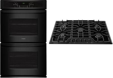"""2 Piece Kitchen Appliances Package with FFET2726TB 27"""" Electric Double Wall Oven and FGGC3645QB 36"""" Natural Gas Cooktop in"""