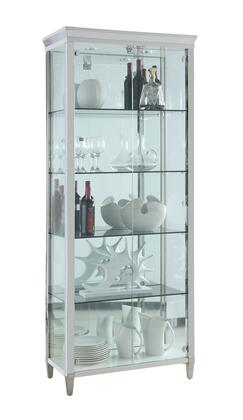 6652-CUR Contemporary Tempered Glass Curio with Shelves  Lighting & Locking Doors and 4 Gray-Tinted Tempered Glass Shelves in Polished Stainless