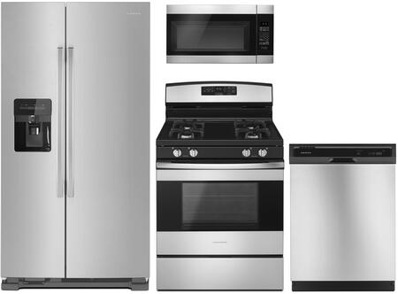 4 Piece Kitchen Appliances Package with ASI2175GRS 33″ Side by Side Refrigerator  AGR6603SFS 30″ Gas Range  AMV2307PFS 30″ Over the Range Microwave