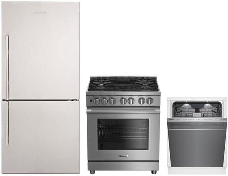 """3-Piece Kitchen Appliances Package with BRFB1822SSN 30"""" Bottom Freezer Refrigerator BDFP34550SS 30"""" Dual Fuel Range and DWT81900SS 24"""" Smart Built"""