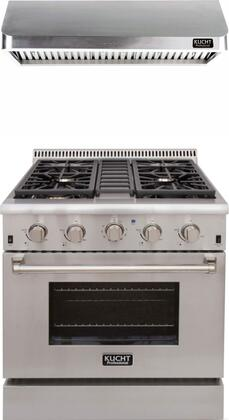 "Professional Series 2-Piece Kitchen Appliances Package with KRD306FLP 30"" Dual Fuel Liquid Propane Range and KRH3002U 30"" Push Button Control Hood in"