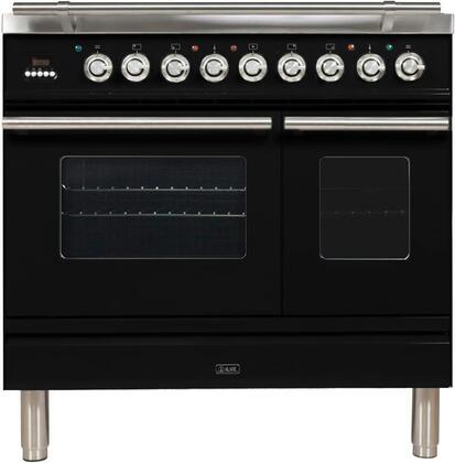 Ilve Professional Plus UPDW90FDMPNLP Freestanding Dual Fuel Range Black, UPDW90FDMPN Professional Plus Range