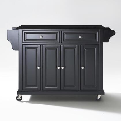 Full Size Kitchen Collection KF30004EBK Full Size Granite Top Kitchen Cart in Black