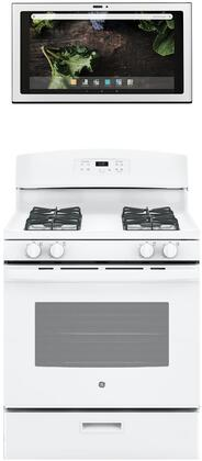2 Piece Kitchen Appliances Package with JGBS60DEKWW 30″ Gas Range and UVH13014MWM 30″ Under Cabinet Ducted Hood in
