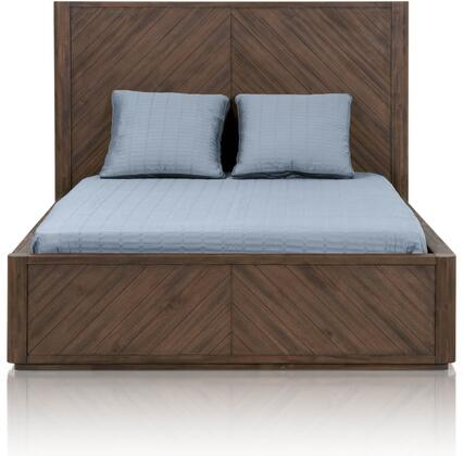 District Collection 4581.CIN Apex Queen Size Platform Bed with Tall Headboard  Low Profile Footboard  Intricate Parquet Pattern and Acacia Veneer