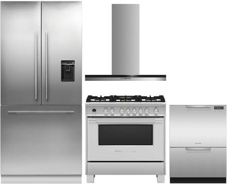 4 Piece Kitchen Appliances Package with RS36A80U1N 36″ French Door Refrigerator  OR36SCG6X1 36″ Dual Fuel Gas Range  HC36DTXB2 36″ Wall Mount