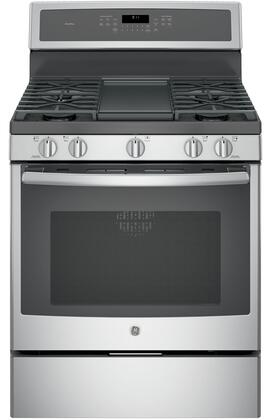 GE Profile PGB911SEJSS Freestanding Gas Range Stainless Steel, Main View with Griddle
