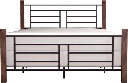 Raymond Collection 2591-500 Metal Queen Bed with Spindle-style details and Wood Posts in Black and Weathered Dark