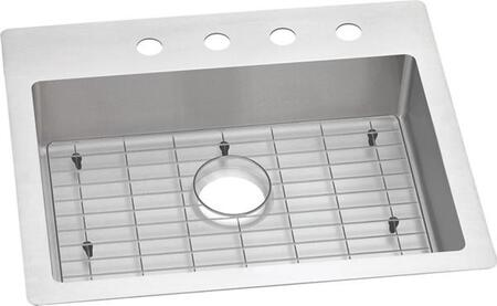 Crosstown ECTSRAD25226TBG4 25″ x 22″ x 6″ Stainless Steel Dual Mount Kitchen Sink with Grid Included  ADA Compliant  and Sound Deadening Pads in