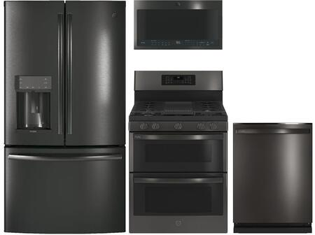 4 Piece Kitchen Appliances Package with PYD22KBLTS 36″  French Door Refrigerator  PGB960BEJTS 30″ Gas Range  UVH13013MTS 30″ Under Cabinet Ducted