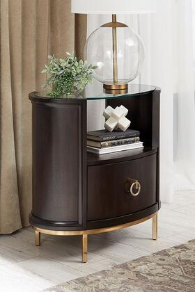 Formosa Collection 222822 28″ Oval Nightstand with Dual USB Ports  Electroplated Metal Base and Coaster'S Exclusive Design in Americano