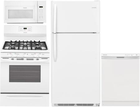 "4 Piece White Kitchen Package with FFTR1814TW 30"""" Top Freezer Refrigerator  FFGF3054TW 30"""" Freestanding Gas Range  FFCD2418UW 24"""" Full Console -  Frigidaire, 959924"