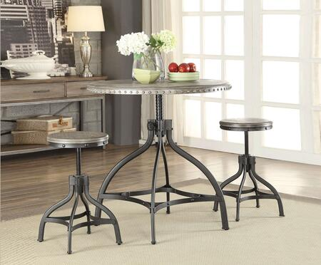 Acme Furniture Fatima 73125 Bar Table Set Gray, 3 PC Set
