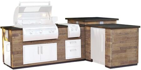 """DL660-FOR-116BA """"L"""" Island with Polished Black Lava Countertop and French Barrel Oak Base Finish(Components Sold"""