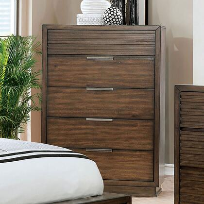 Tolna Collection CM7532C Chest With Deep Wood Grain  Wooden Block Legs And Felt-lined Top Drawers In