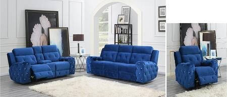 U8311-PSPLPR-V 3 Piece Living Room Set with Power Reclining Sofa  Power Console Reclining Loveseat  Power Recliner in Blue