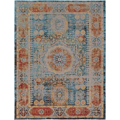 Amsterdam AMS-1009 8′ x 10′ Rectangle Traditional Rugs in Bright Blue  Saffron  Bright Red  Black