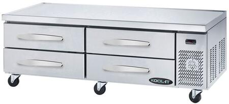 KCB-74-4M 75″ Refrigerated Chef Base with 14.3 cu. ft. Capacity  High-Density Polyurethane Insulated Body and 4″ Swivel Casters in Stainless