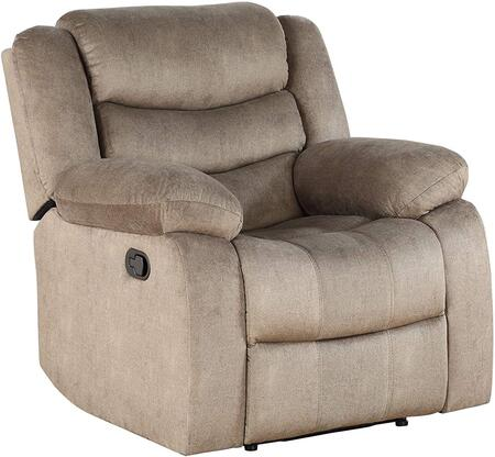 Angelina Collection 55042 Recliner  Horizontal Tufted  External Latch Handle  Tight Back & Seat Cushion  Pocket Coil Seat  Wooden & Metal Frame  in