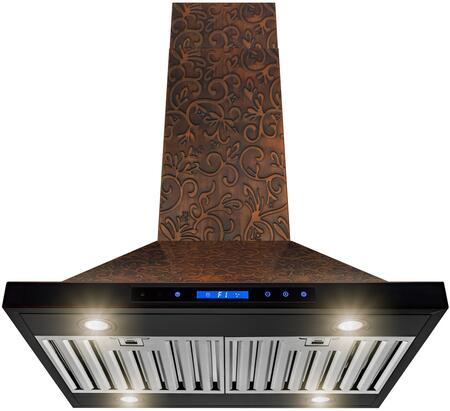 RH0401 30″ Convertible Island Mount Range Hood with 350 CFM  Halogen Lights  Stainless Steel Baffle Filters and Touch Controls in Embossed