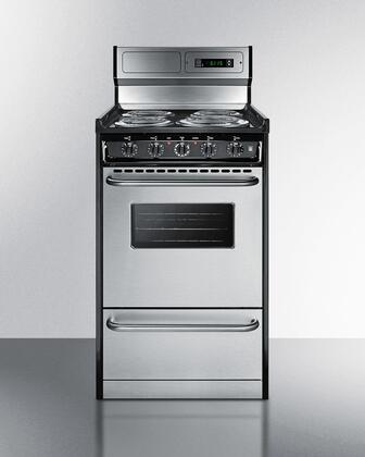 Summit  TEM130BKWY Freestanding Electric Range Stainless Steel, TEM130BKWY Front View