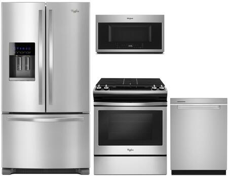 4 Piece Kitchen Appliances Package with WRF555SDFZ 36″ French Door Refrigerator  WEG515S0FS 30″ Slide-in Gas Range  WMH78019HZ 30″ Over the Range