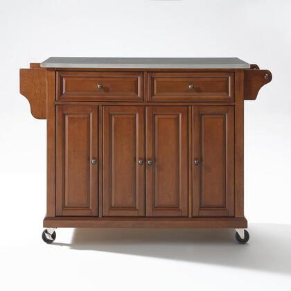 Full Size Kitchen Collection KF30002ECH Full Size Stainless Steel Top Kitchen Cart in Cherry
