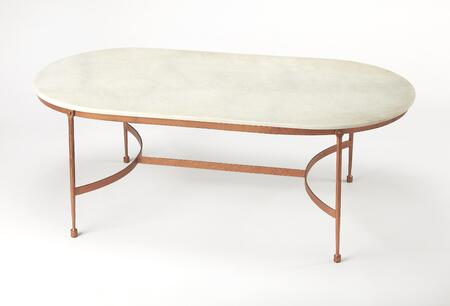 Legionary Collection 3778389 Coffee Table with Modern Style  Oval Shape  Medium Density Fiberboard (MDF) and Iron Metal Material in Marble and Metal