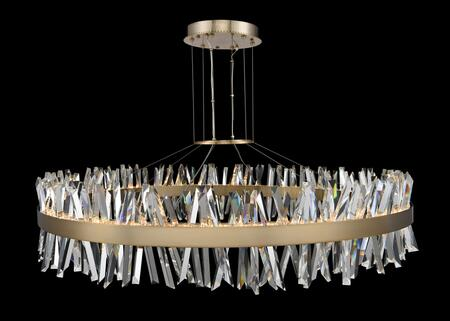 Glacier 030257-038 60″ LED Round Pendant in Brushed Champagne Gold Finish with Firenze Crystal Spears