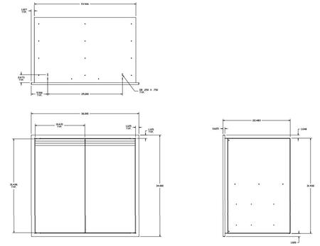 Twin Eagles  TEDS36TB Storage Drawer Stainless Steel, Diagram
